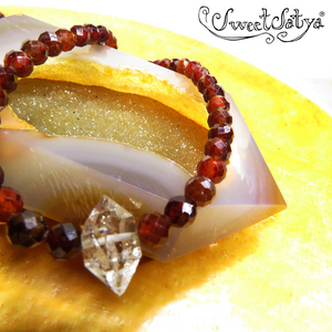 Hessonite Garnet Faceted Gemstone Necklace-SweetSatya
