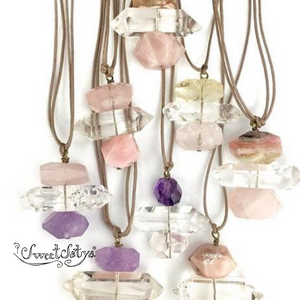 Rose Quartz Crystal Gemstone Necklace-SweetSatya