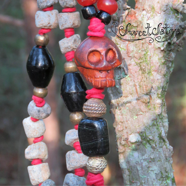 Rough African Granite Stone Mala Beads - SweetSatya