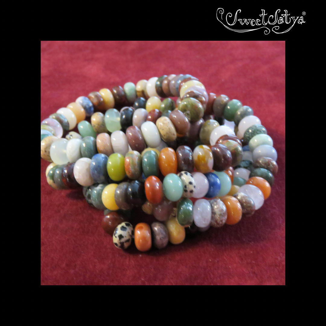 Agate Gemstone Stretch Bracelet - SweetSatya