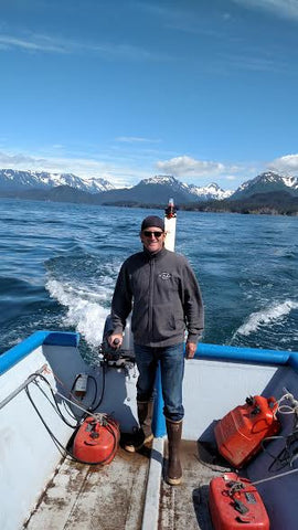 Skiffman in Skiff on the Aghileen, Kenai Red Fish Company