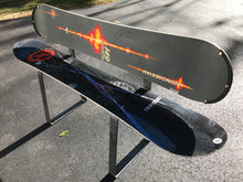 Upcycled Snowboard Bench with New Bent Steel Bar Legs. - worngrainworks