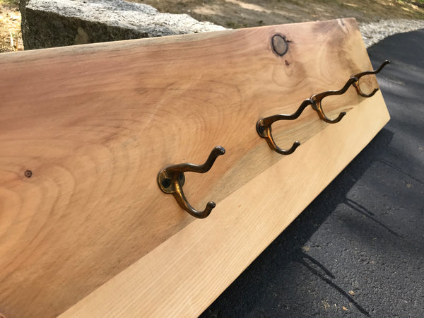 Cherry and spruce hanger with four antique school house double hangers. - worngrainworks
