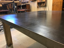 Steel Top Coffee Table with Reclaimed Barn Beam Legs! - worngrainworks