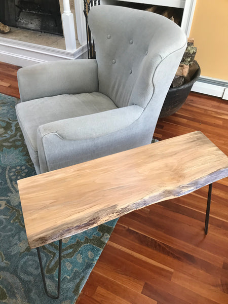 Gorgeous Spalted sycamore Side Table. Handcrafted bent steel hairpin legs. - worngrainworks