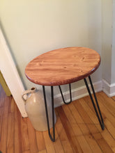 Round Side Tables with small Hairpin Legs - worngrainworks