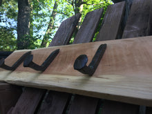 Railroad Spike Coat & Hat Rack on Reclaimed Cherry Board - worngrainworks