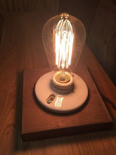 Edison Light Bulb On Black Walnut Base With Two Light Settings - worngrainworks