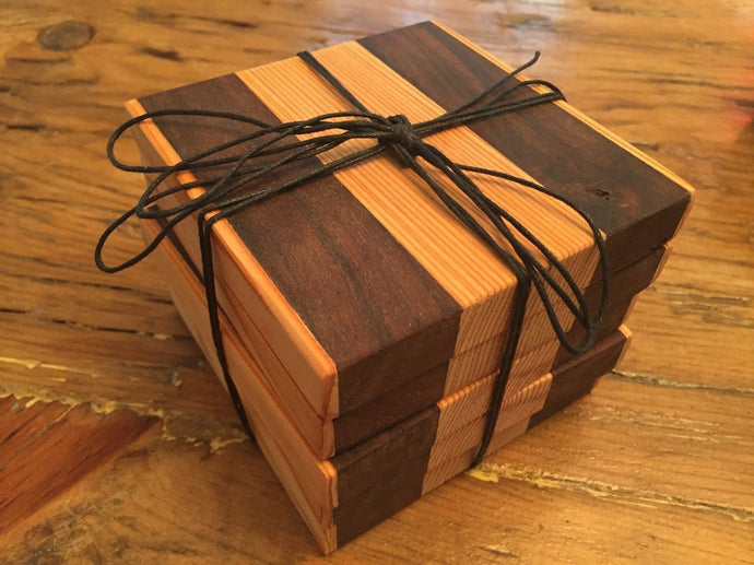 Reclaimed Black Walnut & Cedar Coasters (Set of 4 - 4