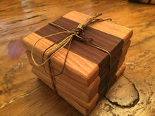 "Reclaimed Black Walnut & Oak Coasters (Set of 5 - 4"" square) - worngrainworks"
