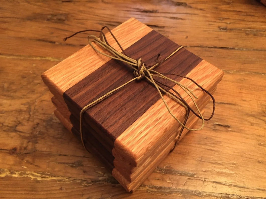 Reclaimed Black Walnut & Oak Coasters (Set of 5 - 4