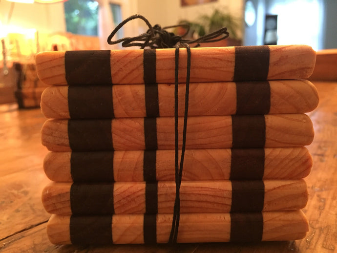 Reclaimed Black Walnut & Pine Coasters (Set of 6 - 4
