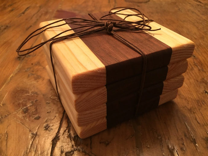 Reclaimed Black Walnut & Pine Wood Coasters (Set of 4 - 4.25