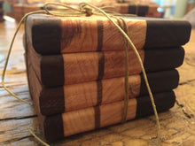 "Reclaimed Black Walnut, Spruce, Oak & Pine Coasters (Set of 4 - 3.75"" square) - worngrainworks"
