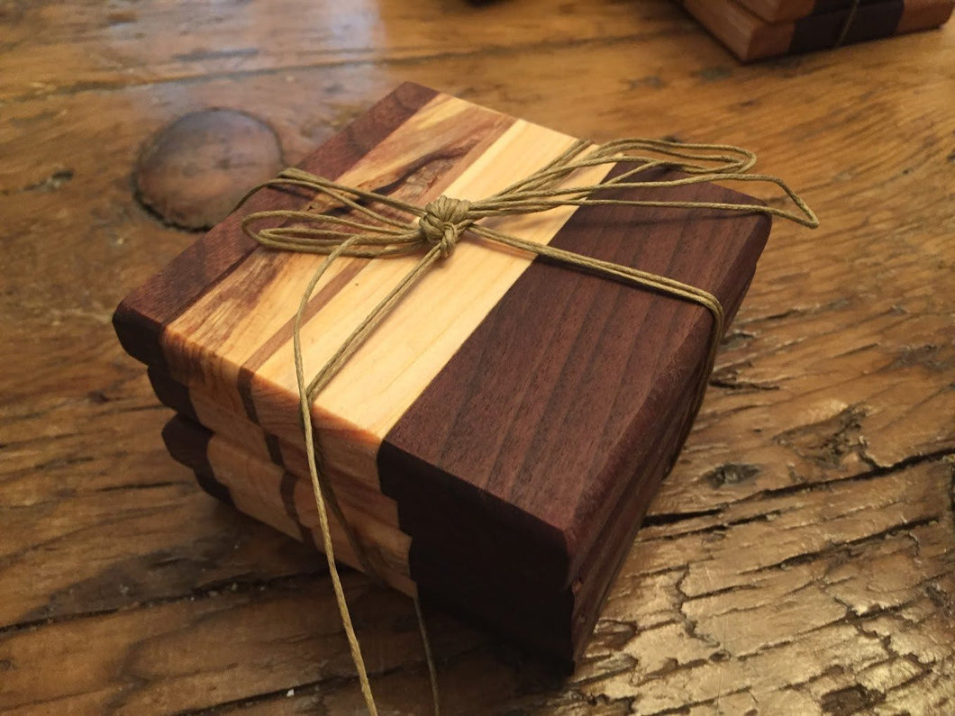 Reclaimed Black Walnut, Spruce, Oak & Pine Coasters (Set of 4 - 3.75
