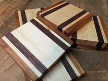 Set of 7 Coasters Crafted from Cherry, Pine, & Black Walnut - worngrainworks