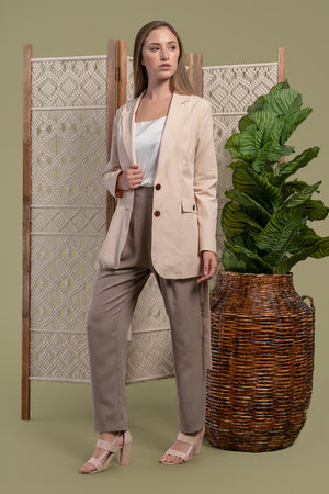 AGA | Carmen Structured Blazer With Obi Belt Black Tea