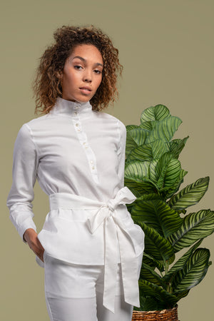 Dakota High Neck Shirt With Obi Belt