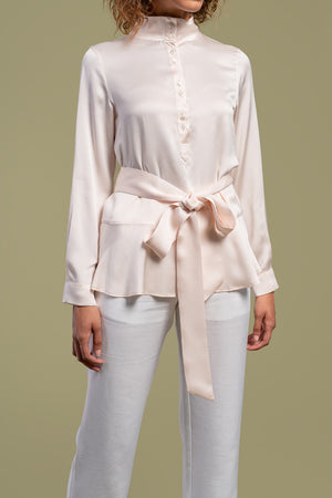 AGA | Lana High Neck Shirt With Obi Belt Avocado