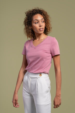 AGA | Hadley V-Neck Short Sleeve Tee Brazilwood