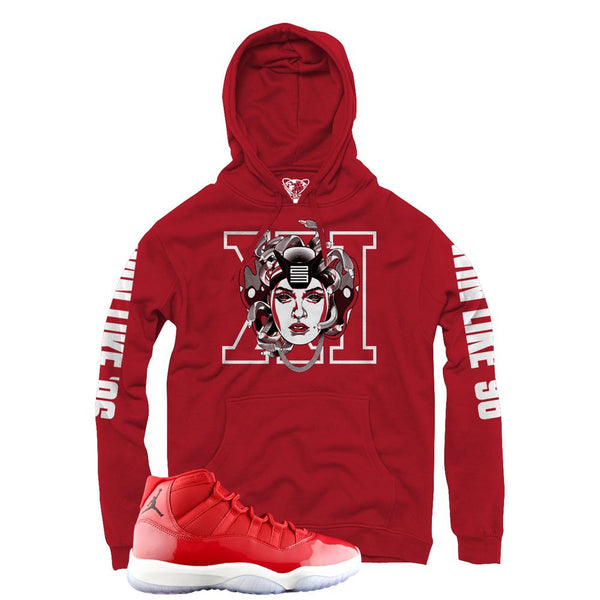 3989eebcaf0 Jordan 11 Win Like 96 Hoodies Retro 11s Gym Red Hooded Sweaters ... Jordan  11 gym red official matching shirts ...