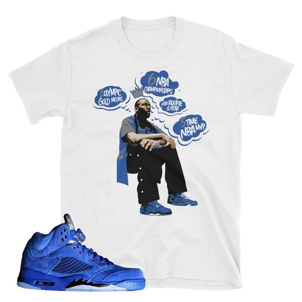 Jordan 5 Blue Suede Shirts, retro 5 flight suit tees