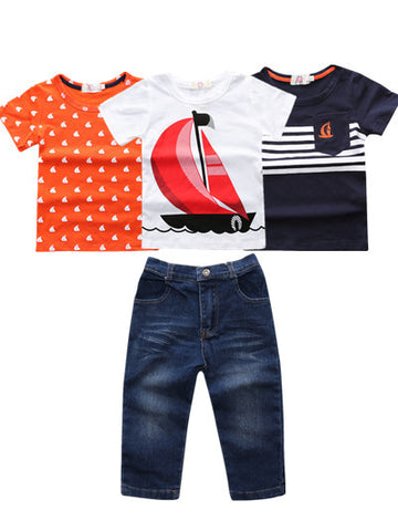 Boys 4 Piece Outfit - Nautical - Snick and Spice