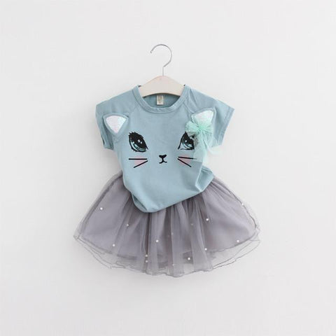 2 Piece Cat Tutu - Blue-Green with Grey - Snick and Spice