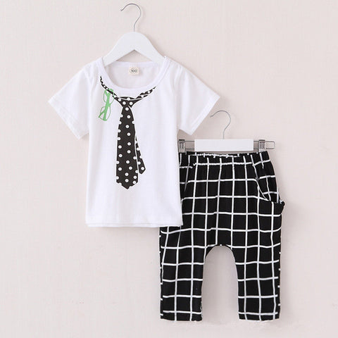 Boys Tie Shirt and Checkered Pants
