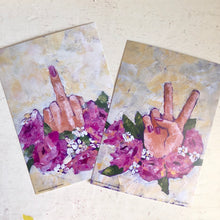 Two postcard/prints peace and middle finger bouquets