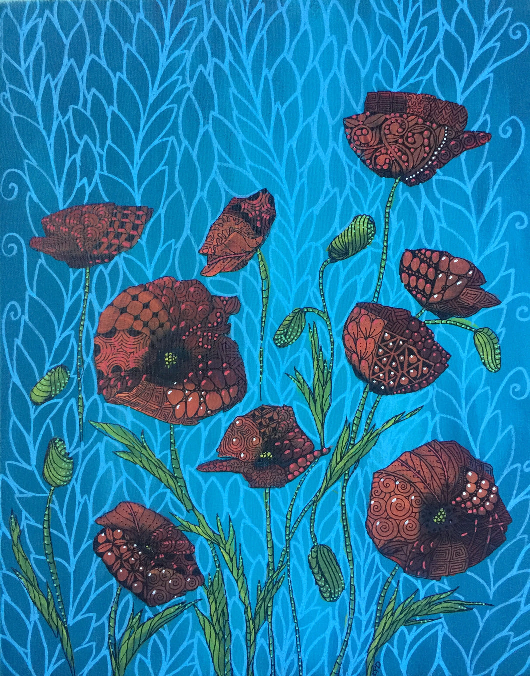 Tangled Poppies in Blue