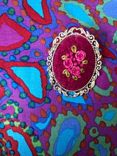 Old-fashioned Embroidered Rose brooch