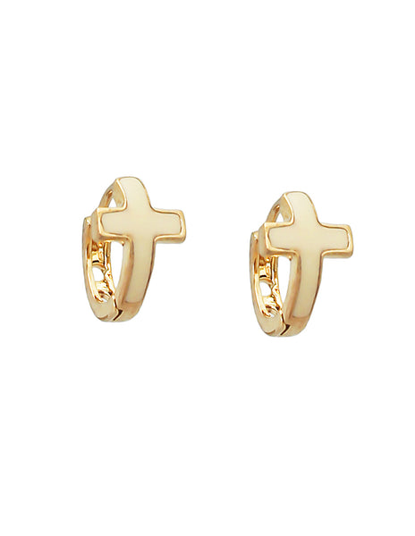 ARETES HUGGIES CON CRUZ