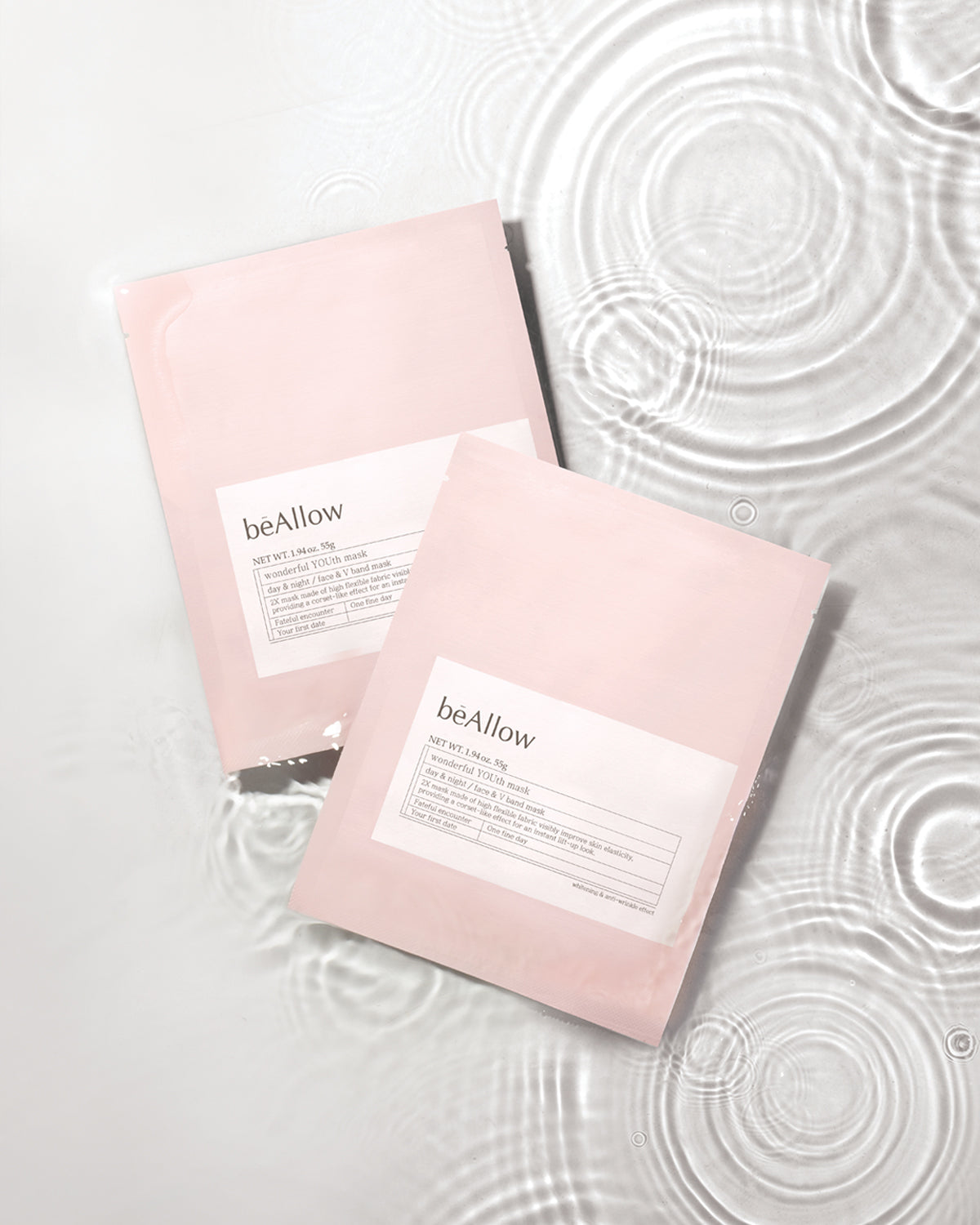 bē Allow Wonderful Youth Mask provides dual benefits of moisturizing and lifting. It provides hydration and moisture while V lifting sheet mask contours the chin to increase the look of elasticity and create a lifted appearance.