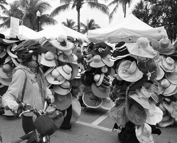 """Hat & Hats"" while walking through Ocean Drive during Art Deco Weekend"