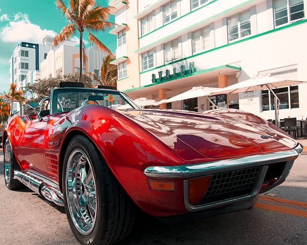 NEW SECTION Release Photography Prints of Classic and Muscle Vintage Cars on South Beach Art Deco