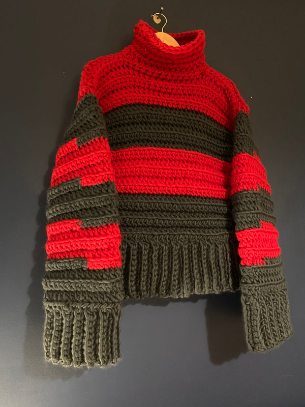 Lipstick red and steel grey. Chunky super soft Peruvian wool Sweater