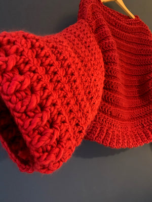 Blood Red. Super soft, super chunky Peruvian wool. Wide sleeves. Bomber shape.