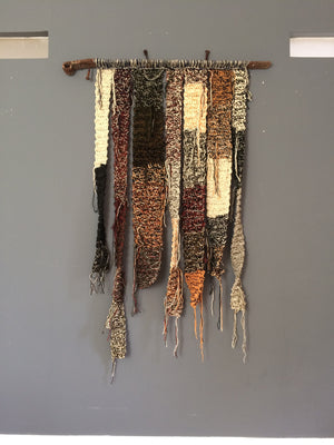 'You patchwork life' Large textile wall hanging in Scottish Harris wool, reclaimed metal. Industrial art.