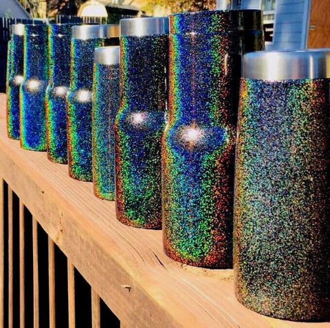 Black Rainbow - Prismatic Glitter Tumbler - YETI / RTIC / HOGG - Powdercoated - Graphic Pros