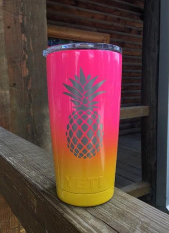 Pineapple Tumbler - YETI / RTIC / HOGG Tumblers - Powdercoated - Laser Engraved - Pink Yellow Yeti - Pineapple Yeti - Pineapple Gift - Graphic Pros