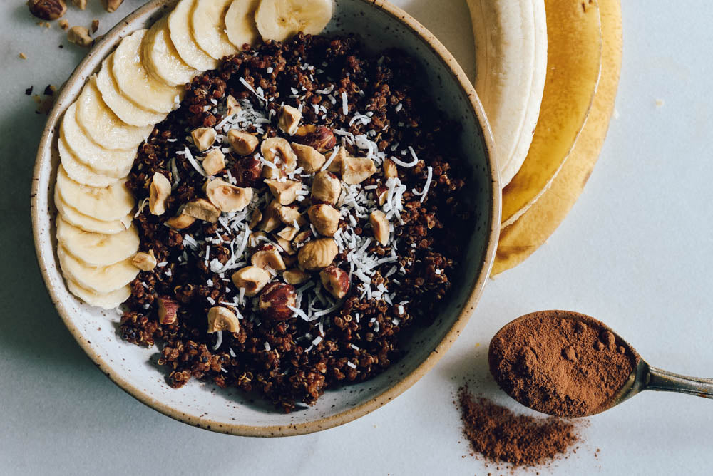 Chocolate Caramel Quinoa Breakfast Bowl