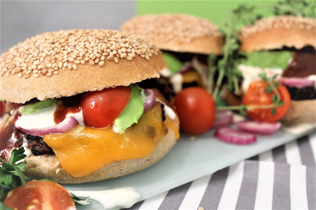 Southwest Black Bean Quinoa Cheeseburgers With Sprouted Wheat Buns