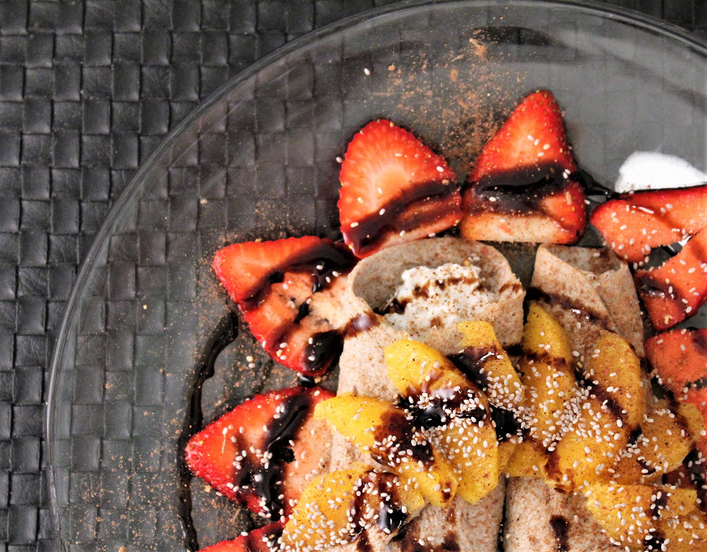 30-Second Microwave White Chia Seed Crepes with Balsamic Glazed Spiced Oranges and Berries