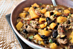 Southwestern Butternut, Wheat, and Sausage Stew