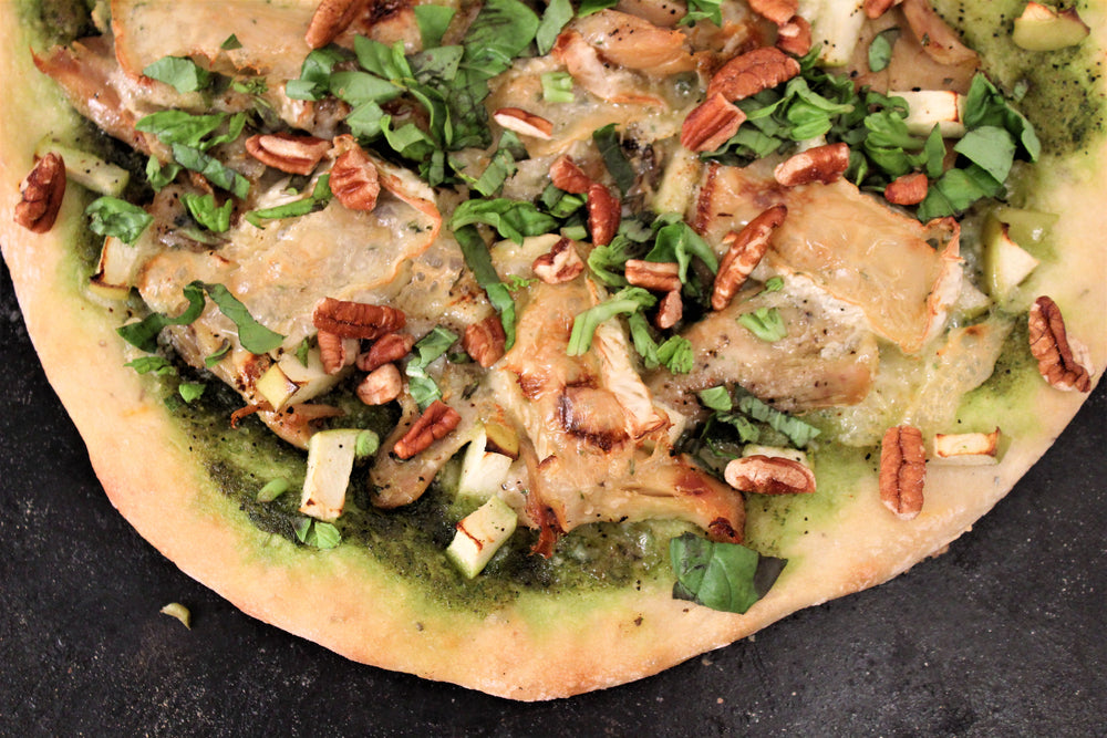 Baked Brie Turkey Pesto and Apple Pizza with Pecans