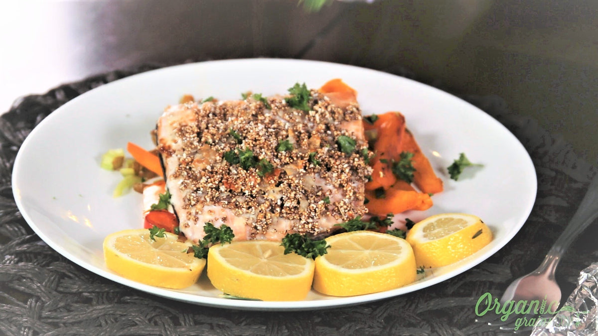 4-Ingredient Parmesan Amaranth Encrusted Salmon