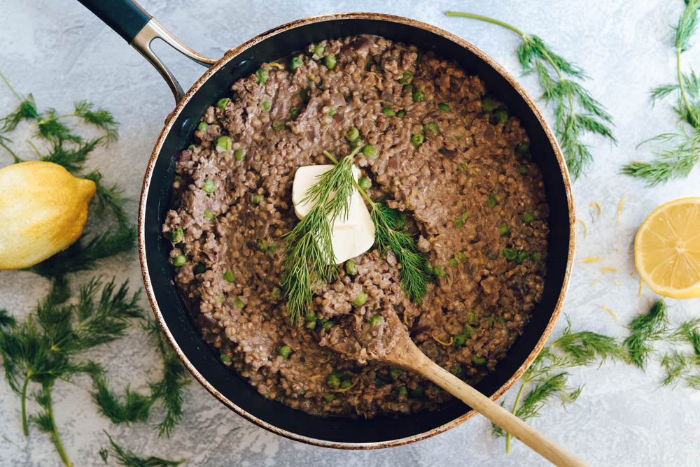 Buckwheat & Pea Risotto with Fresh Lemon & Dill