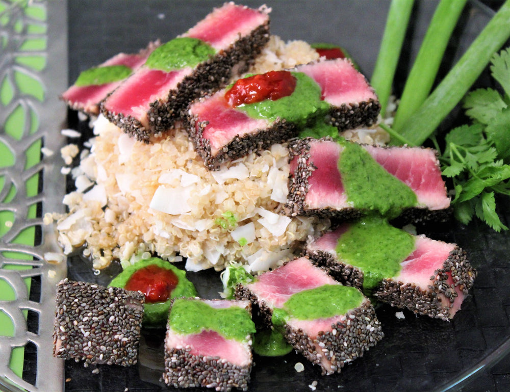 Pepper& Chia Encrusted Seared Ahi with Spicy Cilantro Sesame Sauce and Coconut Quinoa