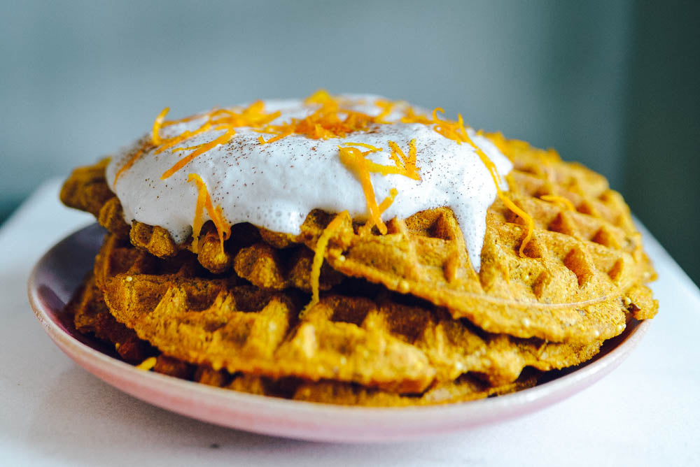 Sprouted Wheat, Seed and Millet Pumpkin Waffles